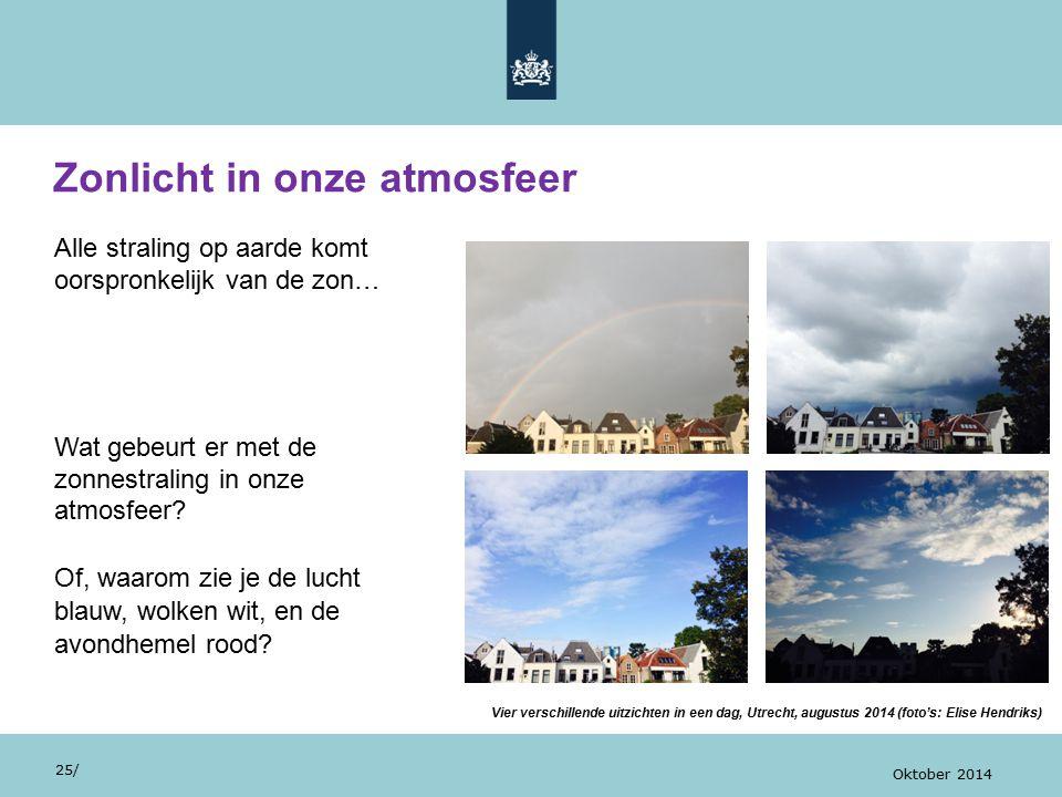 Zonlicht in onze atmosfeer 25/ Oktober 2014 Alle straling op aarde komt oorspronkelijk van de zon… Wat gebeurt er met de zonnestraling in onze atmosfe