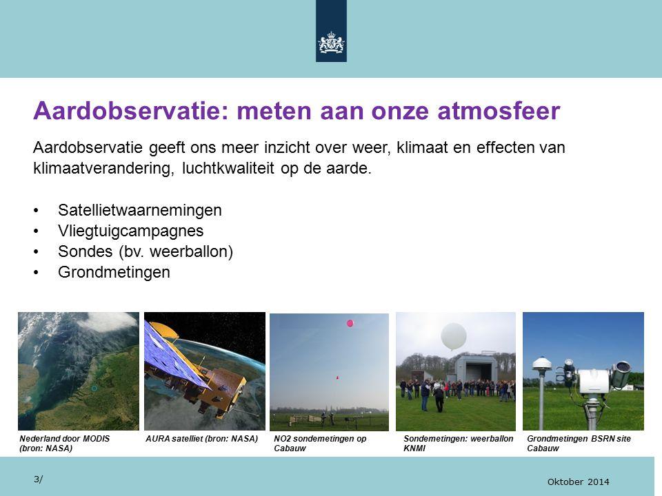 Visualisatie van TROPOMI (bron: Astrium – Airbus Group) Sentinel 5-P met TROPOMI Satellietwaarnemingen 24/ Oktober 2014 Voorbeelden van satellietinstrumenten die de samenstelling van gassen en aerosolen in onze atmosfeer meten: Ozone Monitoring Instrument, OMI, aan boord van NASA satelliet EOS-AURA (2004-); TROPospheric Monitoring Instrument, TROPOMI (2016-), opvolger van OMI en enige instrument aan boord van ESA's Sentinel 5-P.
