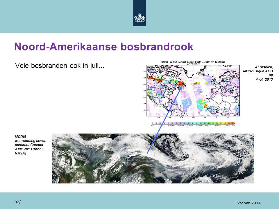 Vele bosbranden ook in juli... Noord-Amerikaanse bosbrandrook 32/ Oktober 2014 MODIS waarneming boven oostkust Canada 4 juli 2013 (bron: NASA) Aerosol