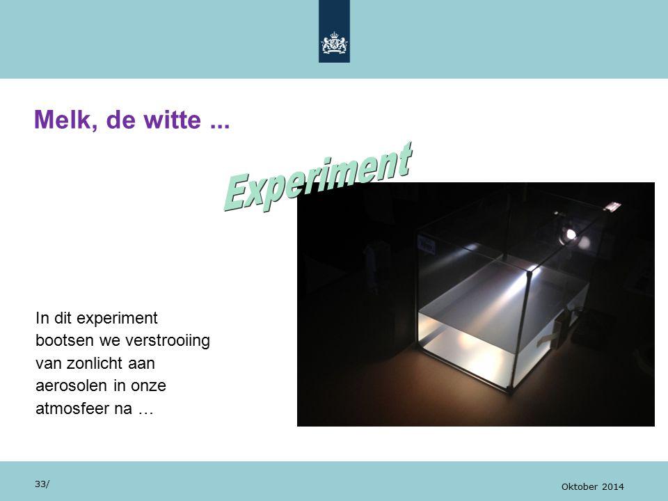 In dit experiment bootsen we verstrooiing van zonlicht aan aerosolen in onze atmosfeer na … Melk, de witte... 33/ Oktober 2014
