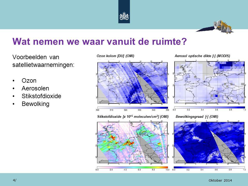Wat nemen we waar vanuit de ruimte? Voorbeelden van satellietwaarnemingen: Ozon Aerosolen Stikstofdioxide Bewolking 4/ Oktober 2014 Stikstofdioxide [x