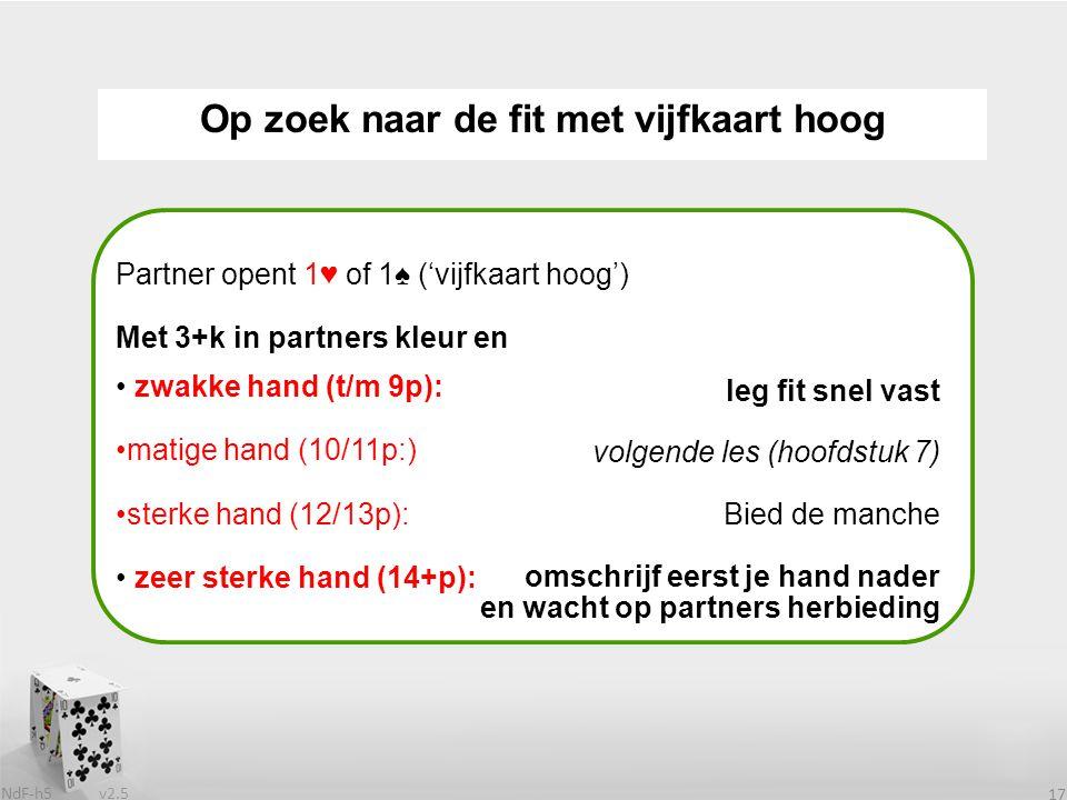 v2.5 NdF-h5 17 Op zoek naar de fit met vijfkaart hoog Partner opent 1♥ of 1♠ ('vijfkaart hoog') Met 3+k in partners kleur en zwakke hand (t/m 9p): matige hand (10/11p:) sterke hand (12/13p): zeer sterke hand (14+p): leg fit snel vast volgende les (hoofdstuk 7) Bied de manche omschrijf eerst je hand nader en wacht op partners herbieding