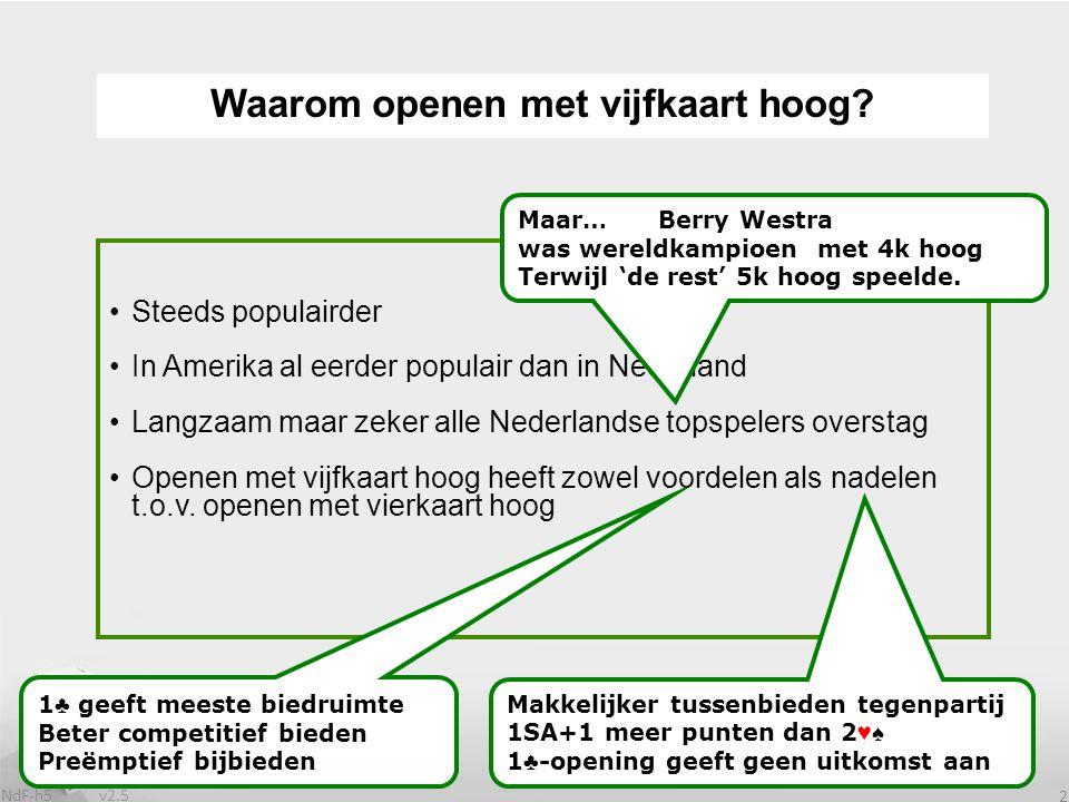 v2.5 NdF-h5 2 Steeds populairder In Amerika al eerder populair dan in Nederland Langzaam maar zeker alle Nederlandse topspelers overstag Openen met vijfkaart hoog heeft zowel voordelen als nadelen t.o.v.