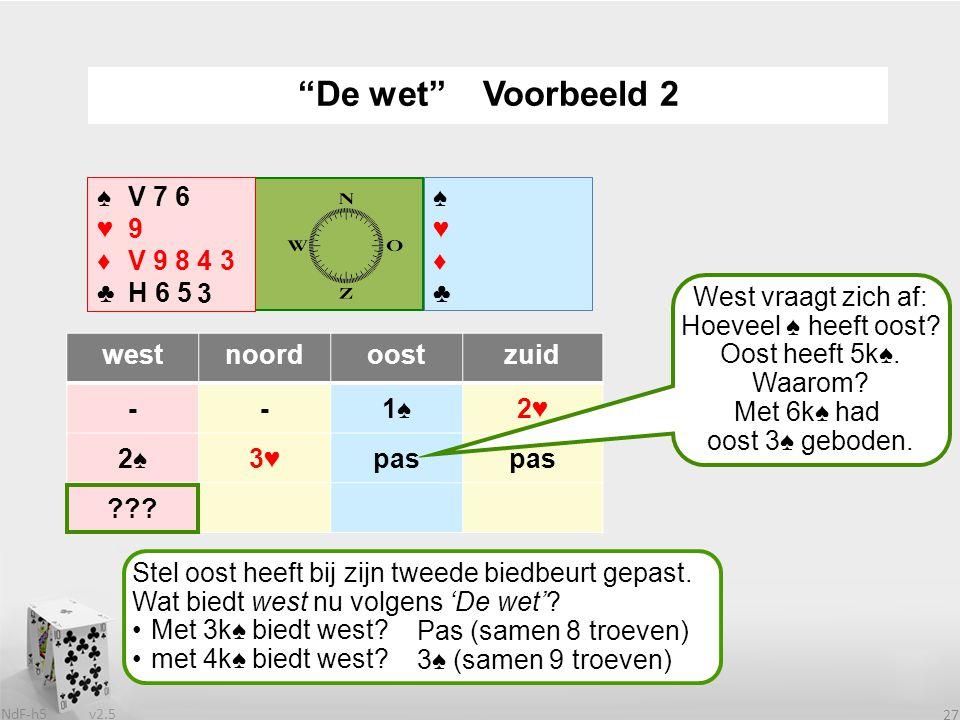 v2.5 NdF-h5 27 westnoordoostzuid --1♠2♥ 2♠3♥pas ??.