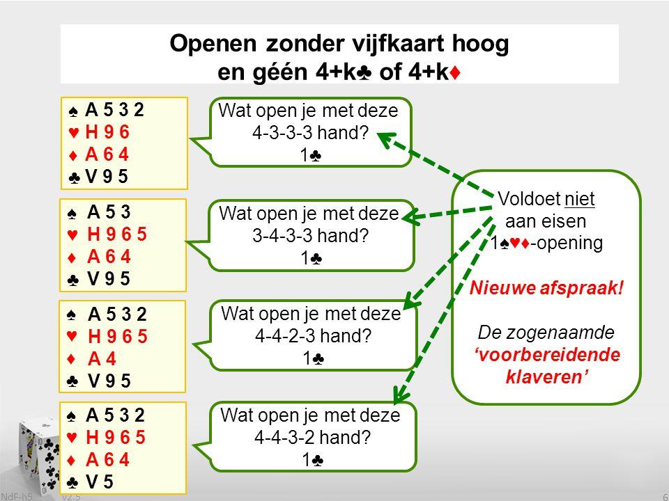v2.5 NdF-h5 6 ♠♥♦♣♠♥♦♣ A 5 3 2 H 9 6 A 6 4 V 9 5 Wat open je met deze 4-3-3-3 hand.