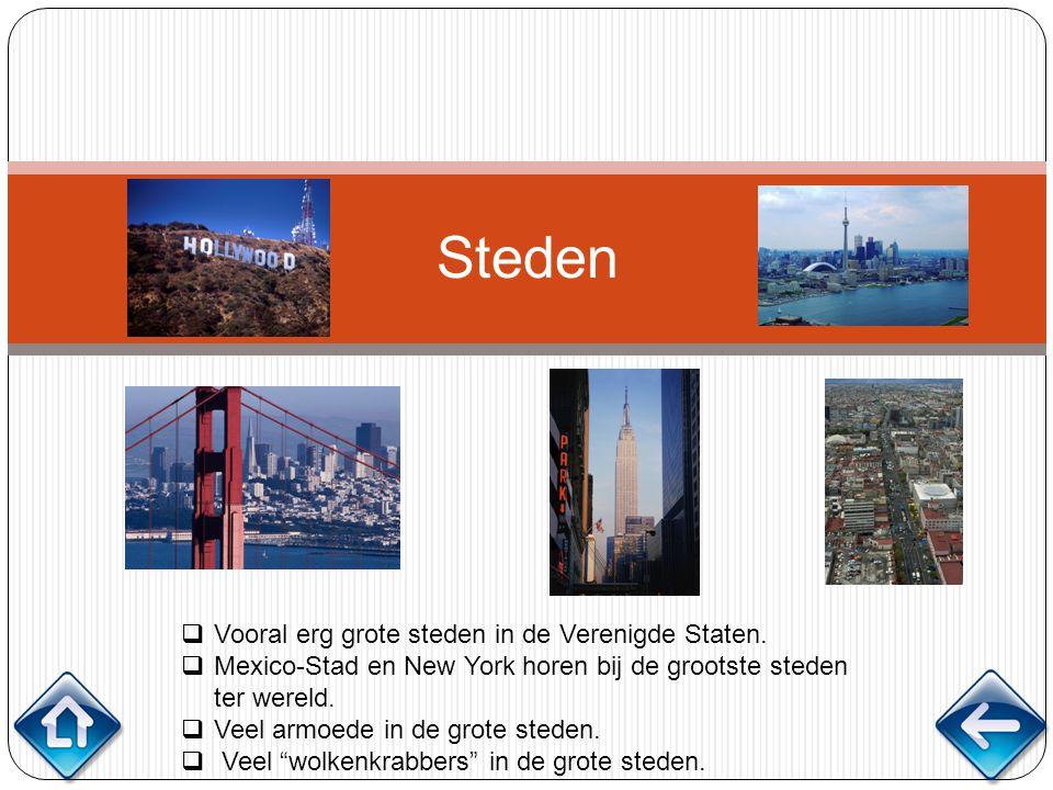 Steden  Vooral erg grote steden in de Verenigde Staten.  Mexico-Stad en New York horen bij de grootste steden ter wereld.  Veel armoede in de grote