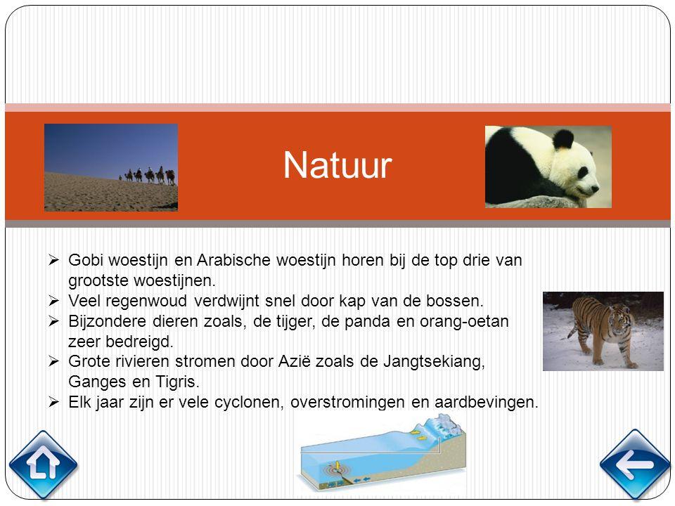 Natuur  Gobi woestijn en Arabische woestijn horen bij de top drie van grootste woestijnen.  Veel regenwoud verdwijnt snel door kap van de bossen. 