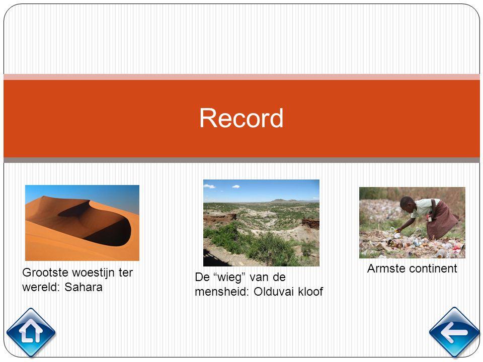 """Record Grootste woestijn ter wereld: Sahara De """"wieg"""" van de mensheid: Olduvai kloof Armste continent"""
