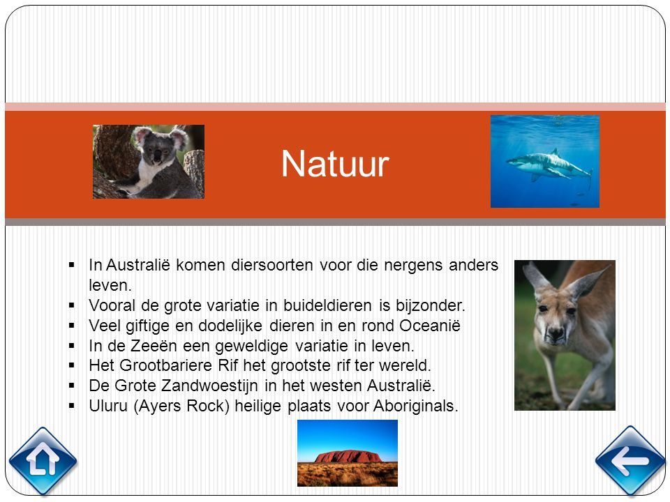 Natuur  In Australië komen diersoorten voor die nergens anders leven.  Vooral de grote variatie in buideldieren is bijzonder.  Veel giftige en dode