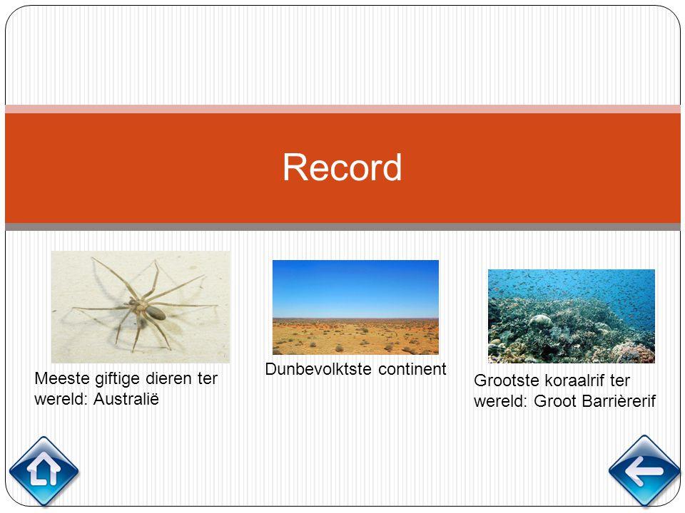 Record Meeste giftige dieren ter wereld: Australië Dunbevolktste continent Grootste koraalrif ter wereld: Groot Barrièrerif