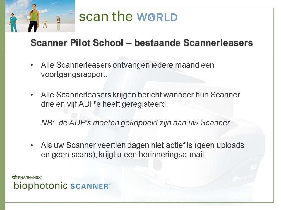 Scanner Pilot School – bestaande Scannerleasers Alle Scannerleasers ontvangen iedere maand een voortgangsrapport.