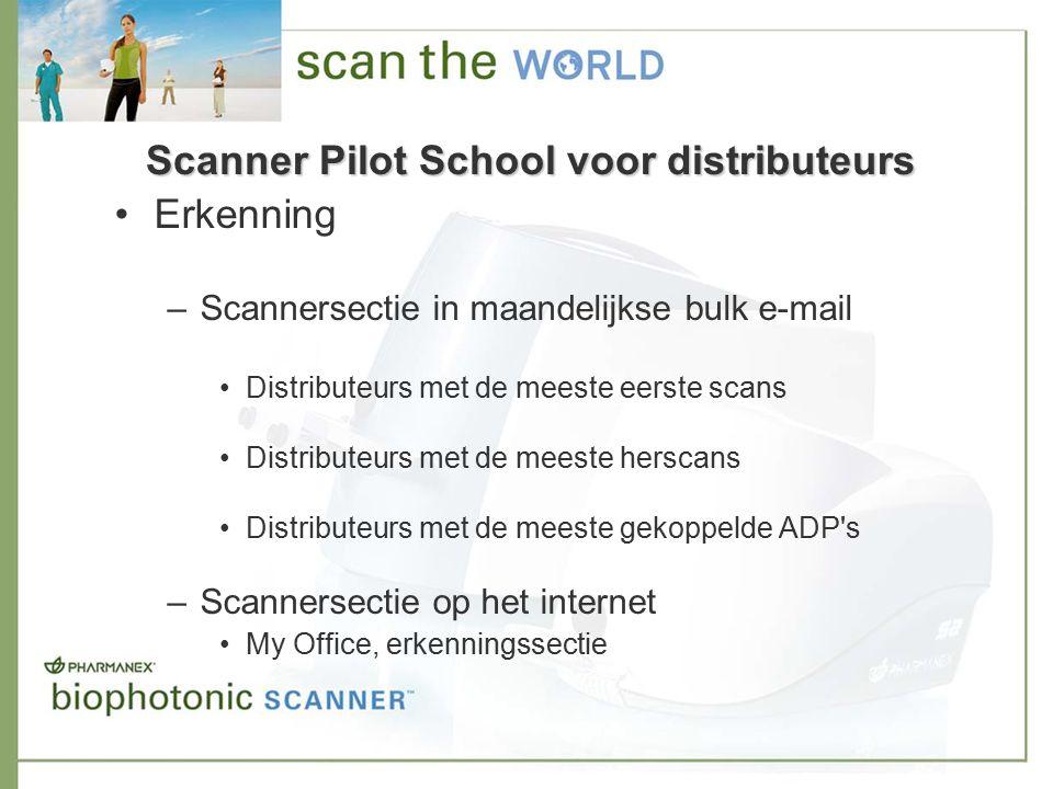 Scanner Pilot School voor distributeurs Erkenning –Scannersectie in maandelijkse bulk e-mail Distributeurs met de meeste eerste scans Distributeurs met de meeste herscans Distributeurs met de meeste gekoppelde ADP s –Scannersectie op het internet My Office, erkenningssectie