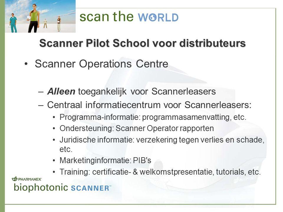 Scanner Operations Centre –Alleen toegankelijk voor Scannerleasers –Centraal informatiecentrum voor Scannerleasers: Programma-informatie: programmasamenvatting, etc.