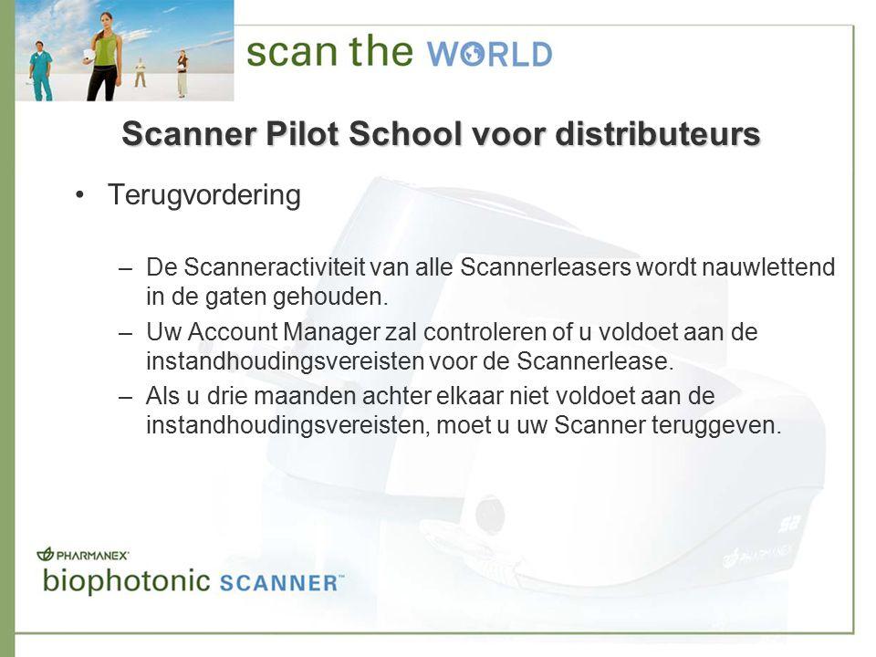 Terugvordering –De Scanneractiviteit van alle Scannerleasers wordt nauwlettend in de gaten gehouden.