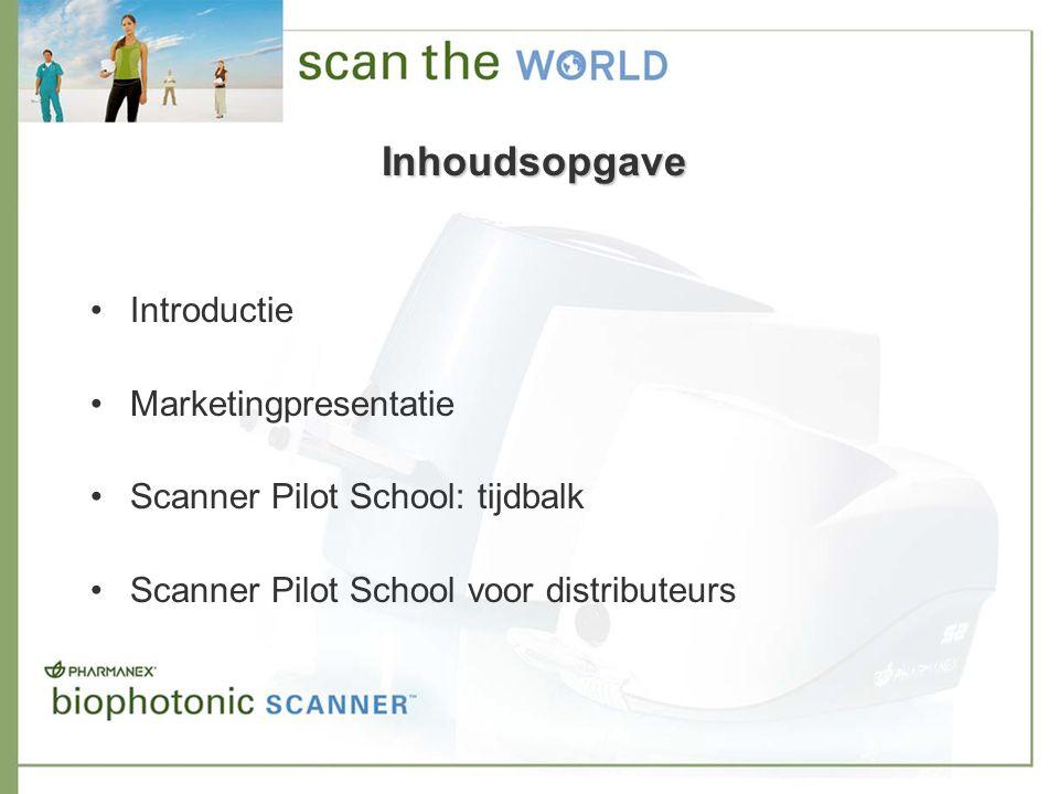 Inhoudsopgave Introductie Marketingpresentatie Scanner Pilot School: tijdbalk Scanner Pilot School voor distributeurs