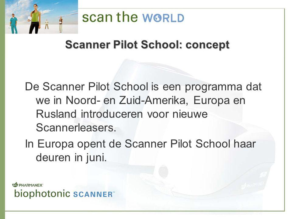 Scanner Pilot School: doelen Het doel van de Scanner Pilot School is om het succes van onze Scannerleasers te bevorderen door ze beter te ondersteunen en meer informatie te geven en ze tijdens de eerste negentig dagen van de leaseperiode een betere Scannerleaser-identiteit te helpen ontwikkelen.