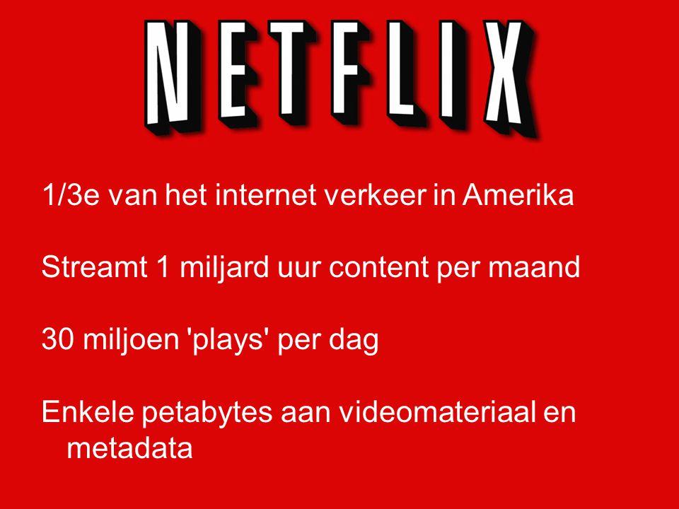 1/3e van het internet verkeer in Amerika Streamt 1 miljard uur content per maand 30 miljoen plays per dag Enkele petabytes aan videomateriaal en metadata