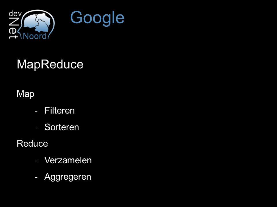 MapReduce Map ‐ Filteren ‐ Sorteren Reduce ‐ Verzamelen ‐ Aggregeren Google