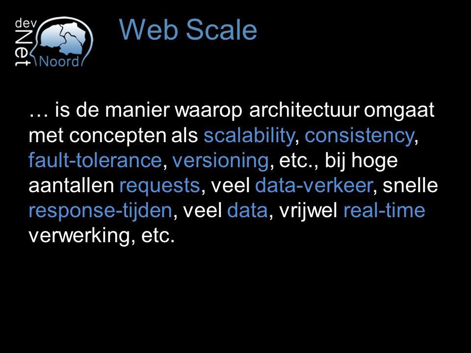 … is de manier waarop architectuur omgaat met concepten als scalability, consistency, fault-tolerance, versioning, etc., bij hoge aantallen requests, veel data-verkeer, snelle response-tijden, veel data, vrijwel real-time verwerking, etc.