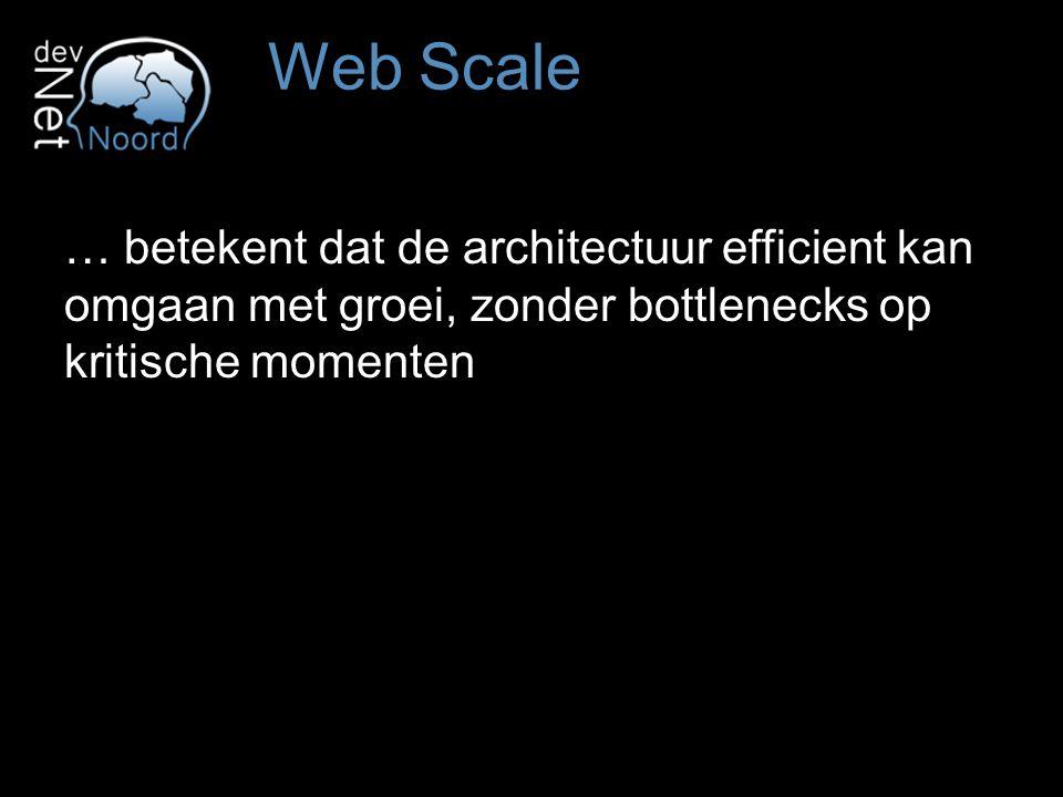 … betekent dat de architectuur efficient kan omgaan met groei, zonder bottlenecks op kritische momenten Web Scale