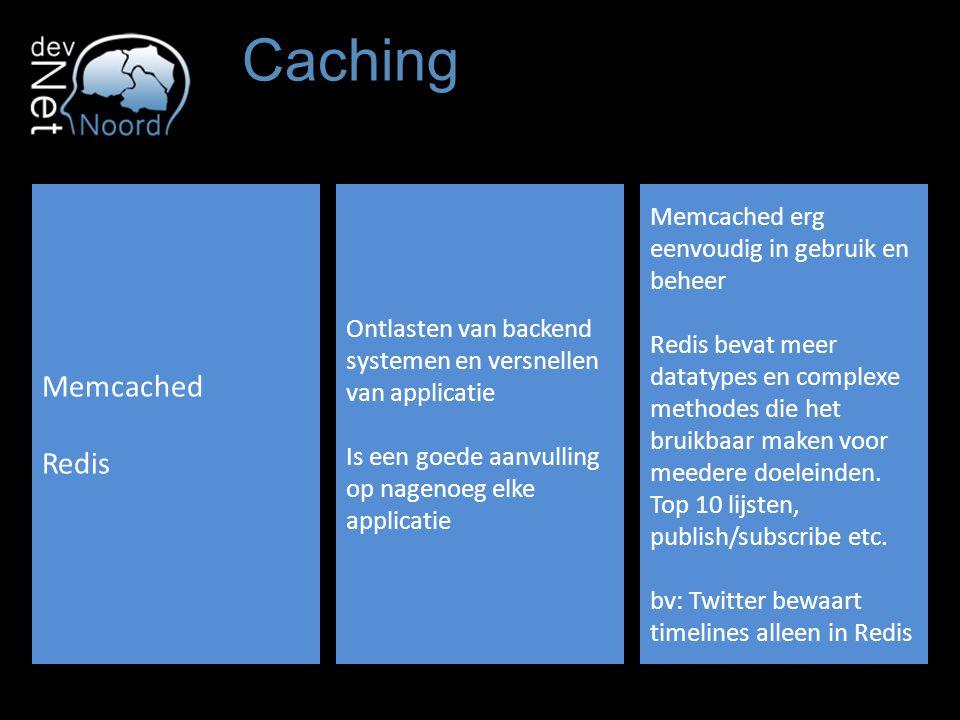 Caching Memcached Redis Ontlasten van backend systemen en versnellen van applicatie Is een goede aanvulling op nagenoeg elke applicatie Memcached erg eenvoudig in gebruik en beheer Redis bevat meer datatypes en complexe methodes die het bruikbaar maken voor meedere doeleinden.