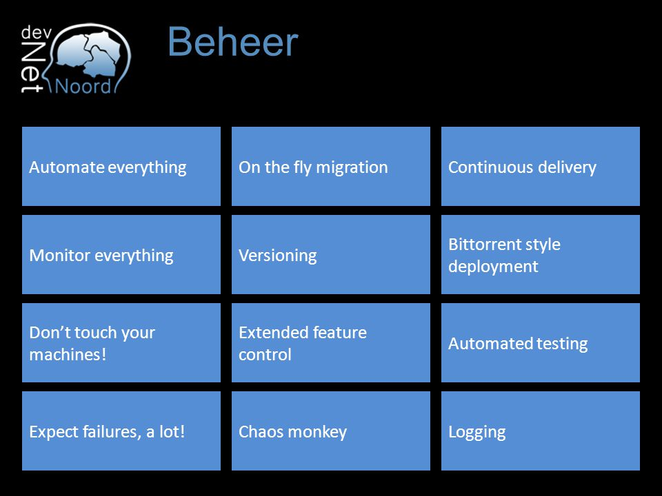 Beheer Automate everythingOn the fly migrationContinuous delivery Monitor everythingVersioning Bittorrent style deployment Don't touch your machines.