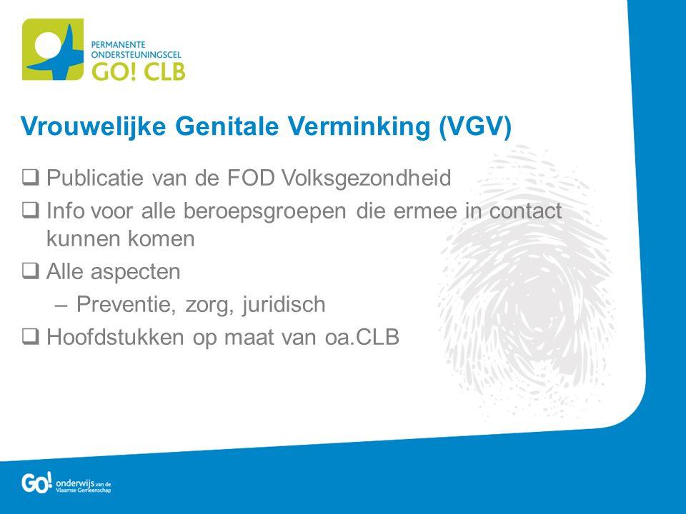  Publicatie van de FOD Volksgezondheid  Info voor alle beroepsgroepen die ermee in contact kunnen komen  Alle aspecten –Preventie, zorg, juridisch  Hoofdstukken op maat van oa.CLB Vrouwelijke Genitale Verminking (VGV)