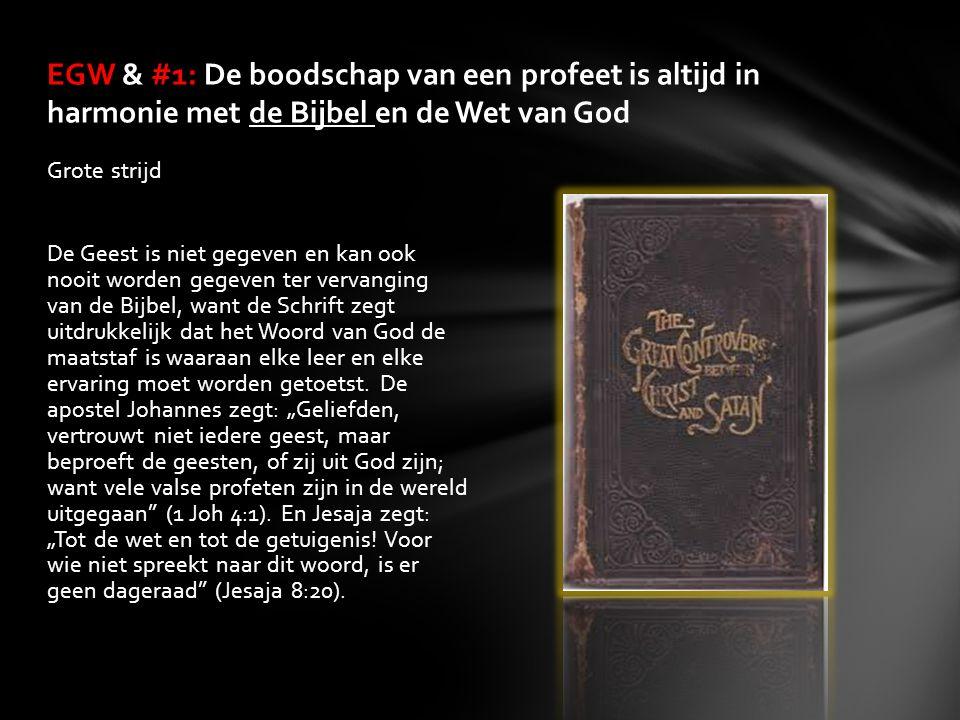 Grote strijd De Geest is niet gegeven en kan ook nooit worden gegeven ter vervanging van de Bijbel, want de Schrift zegt uitdrukkelijk dat het Woord v