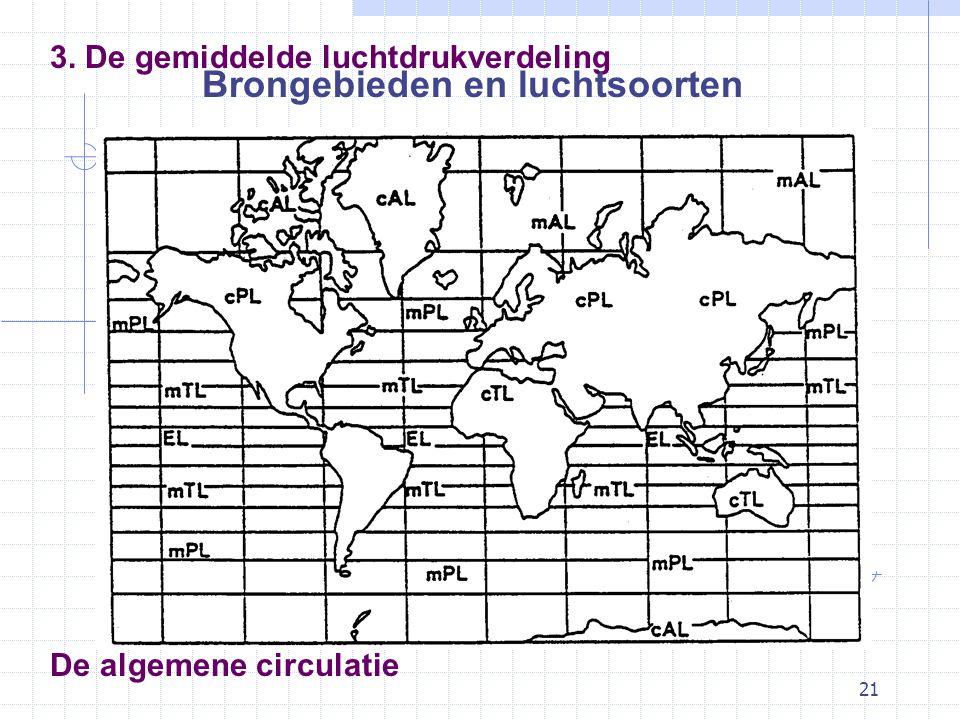 21 De algemene circulatie 3. De gemiddelde luchtdrukverdeling Brongebieden en luchtsoorten