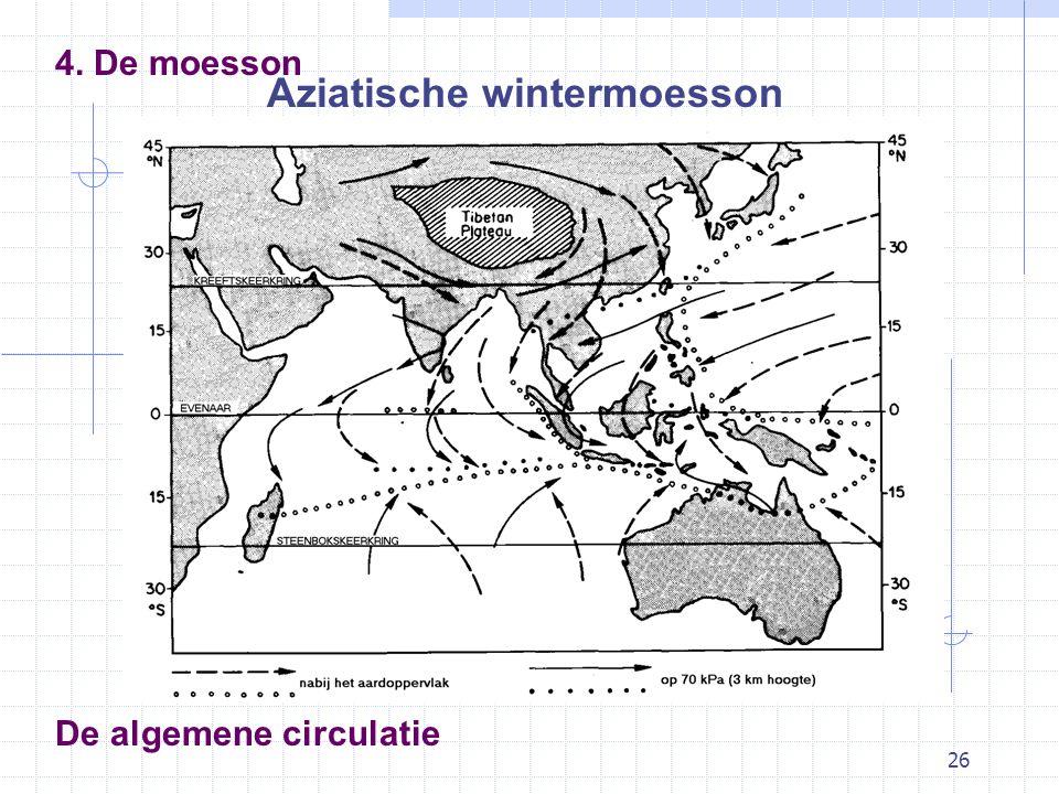 26 De algemene circulatie 4. De moesson Aziatische wintermoesson