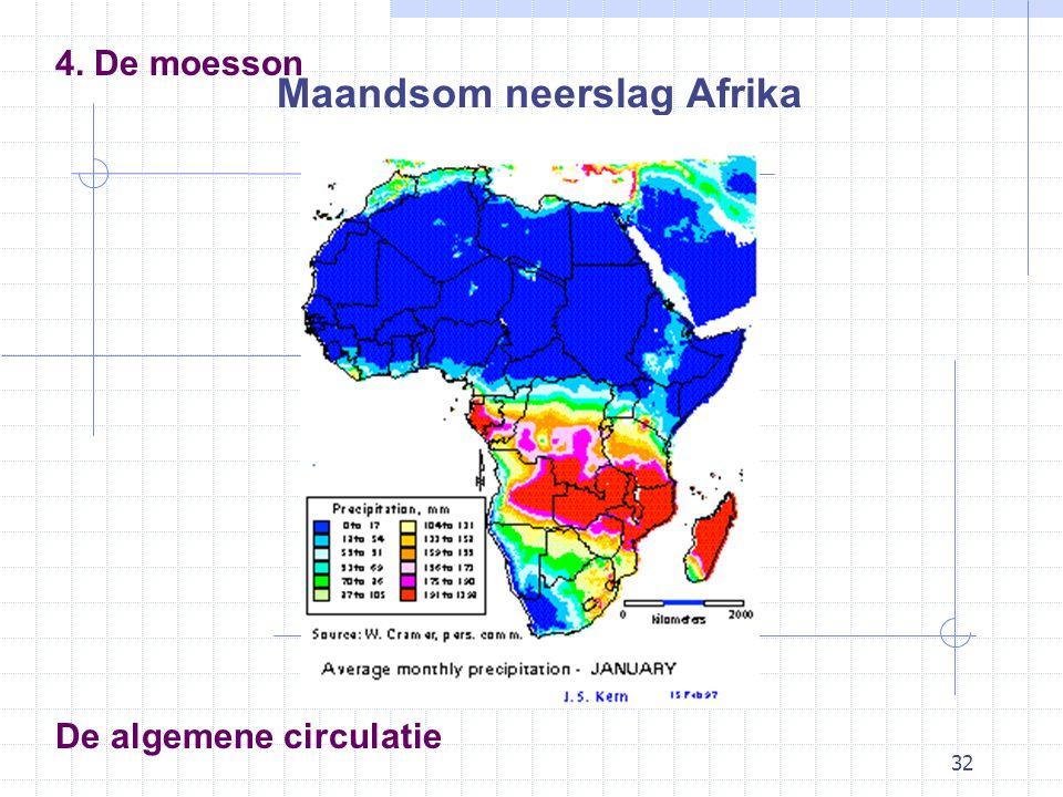 32 De algemene circulatie 4. De moesson Maandsom neerslag Afrika