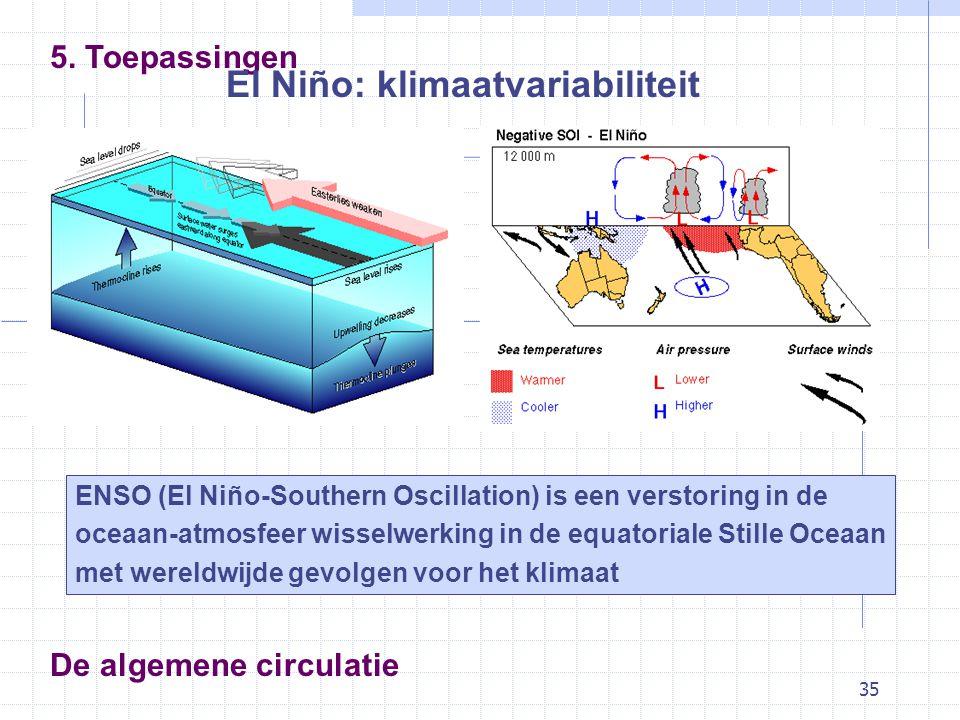 35 De algemene circulatie 5. Toepassingen El Niño: klimaatvariabiliteit ENSO (El Niño-Southern Oscillation) is een verstoring in de oceaan-atmosfeer w