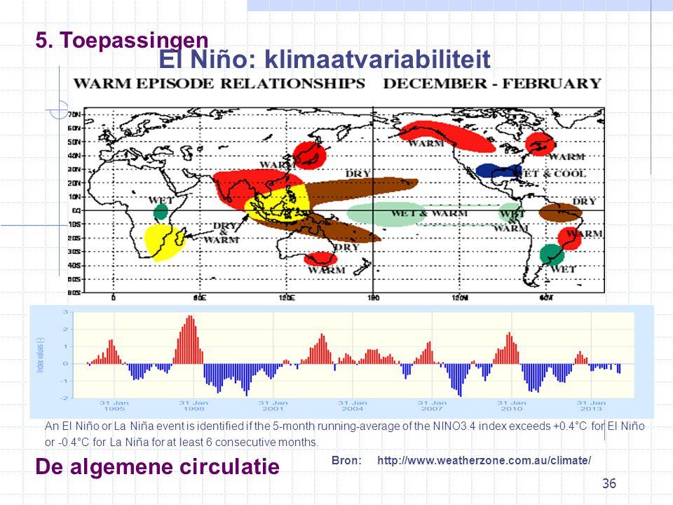 36 De algemene circulatie 5. Toepassingen El Niño: klimaatvariabiliteit Bron: http://www.weatherzone.com.au/climate/ An El Niño or La Niña event is id