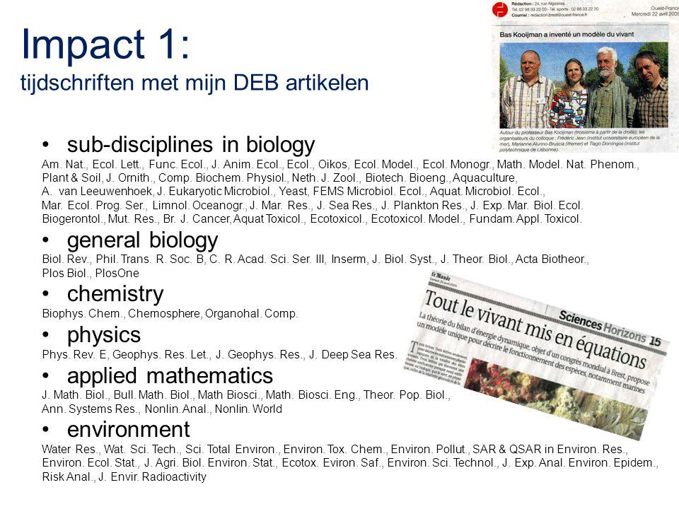 Impact 1: tijdschriften met mijn DEB artikelen sub-disciplines in biology Am. Nat., Ecol. Lett., Func. Ecol., J. Anim. Ecol., Ecol., Oikos, Ecol. Mode
