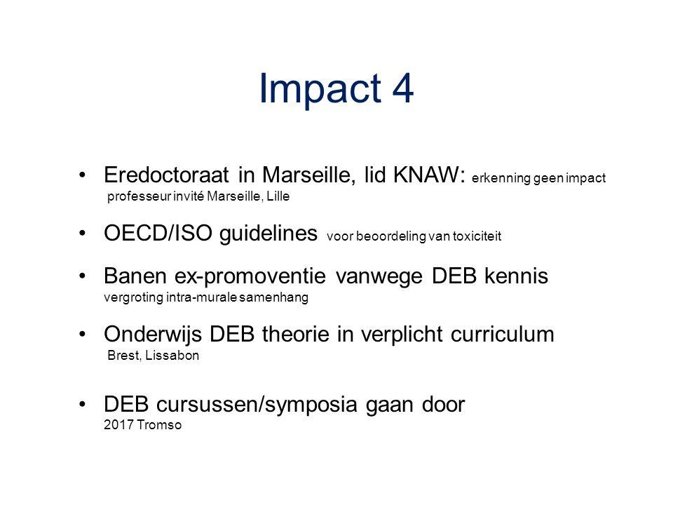 Impact 4 Eredoctoraat in Marseille, lid KNAW: erkenning geen impact professeur invité Marseille, Lille OECD/ISO guidelines voor beoordeling van toxici
