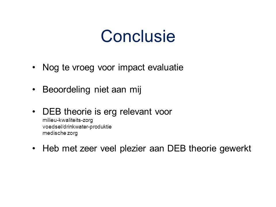 Conclusie Nog te vroeg voor impact evaluatie Beoordeling niet aan mij DEB theorie is erg relevant voor milieu-kwaliteits-zorg voedsel/drinkwater-produ