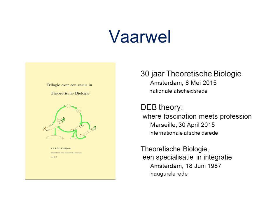 Vaarwel 30 jaar Theoretische Biologie Amsterdam, 8 Mei 2015 nationale afscheidsrede DEB theory: where fascination meets profession Marseille, 30 April