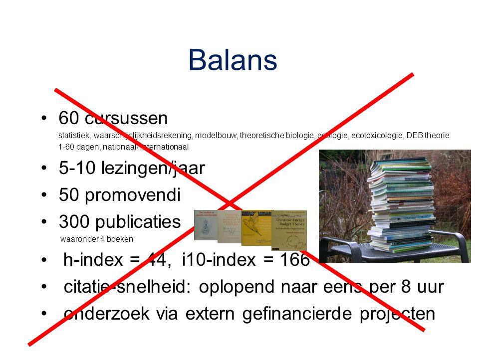 Balans 60 cursussen statistiek, waarschijnlijkheidsrekening, modelbouw, theoretische biologie, ecologie, ecotoxicologie, DEB theorie 1-60 dagen, natio