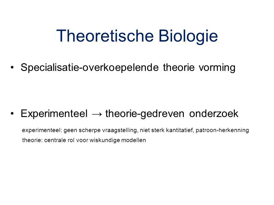 Theoretische Biologie Specialisatie-overkoepelende theorie vorming Experimenteel → theorie-gedreven onderzoek experimenteel: geen scherpe vraagstellin