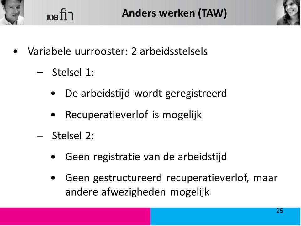 Anders werken (TAW) Variabele uurrooster: 2 arbeidsstelsels –Stelsel 1: De arbeidstijd wordt geregistreerd Recuperatieverlof is mogelijk –Stelsel 2: Geen registratie van de arbeidstijd Geen gestructureerd recuperatieverlof, maar andere afwezigheden mogelijk 25