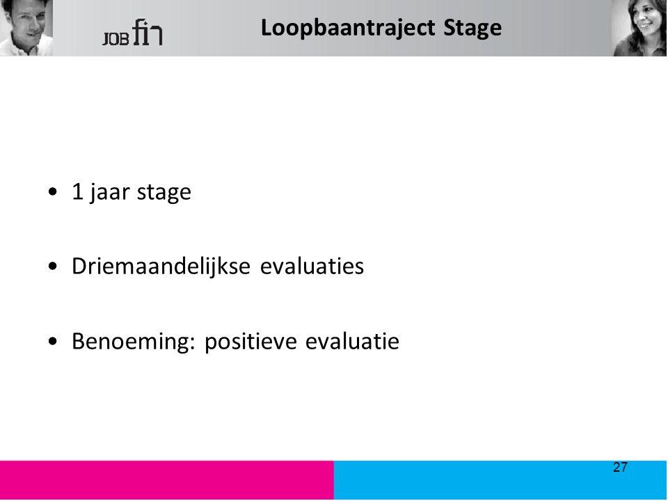 Loopbaantraject Stage 1 jaar stage Driemaandelijkse evaluaties Benoeming: positieve evaluatie 27