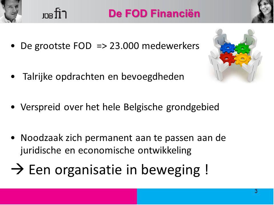 De FOD Financiën De grootste FOD => 23.000 medewerkers Talrijke opdrachten en bevoegdheden Verspreid over het hele Belgische grondgebied Noodzaak zich permanent aan te passen aan de juridische en economische ontwikkeling  Een organisatie in beweging .