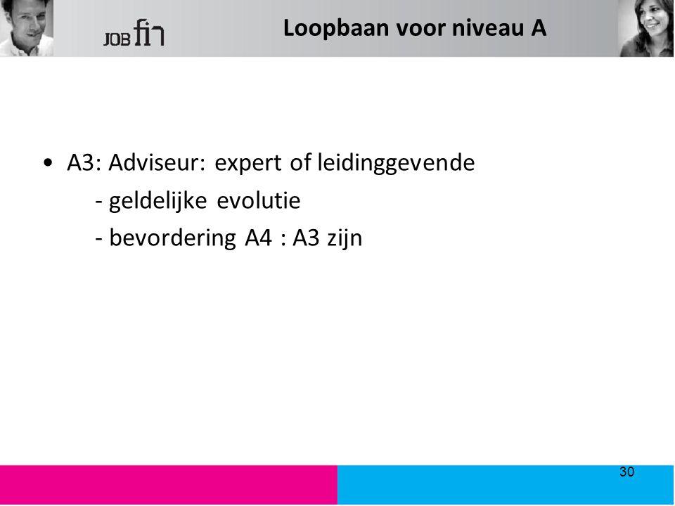 Loopbaan voor niveau A A3: Adviseur: expert of leidinggevende - geldelijke evolutie - bevordering A4 : A3 zijn 30
