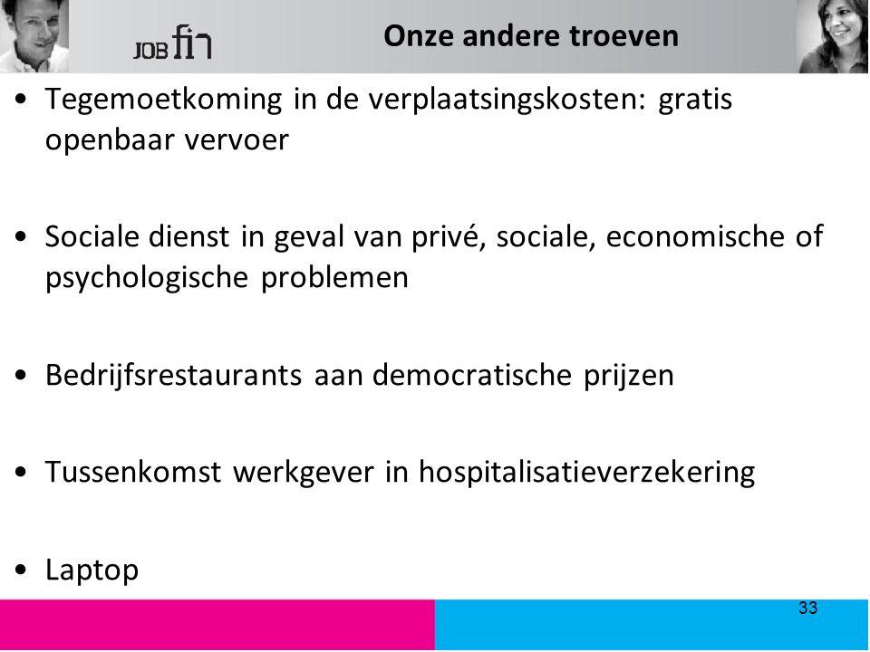 Onze andere troeven Tegemoetkoming in de verplaatsingskosten: gratis openbaar vervoer Sociale dienst in geval van privé, sociale, economische of psych