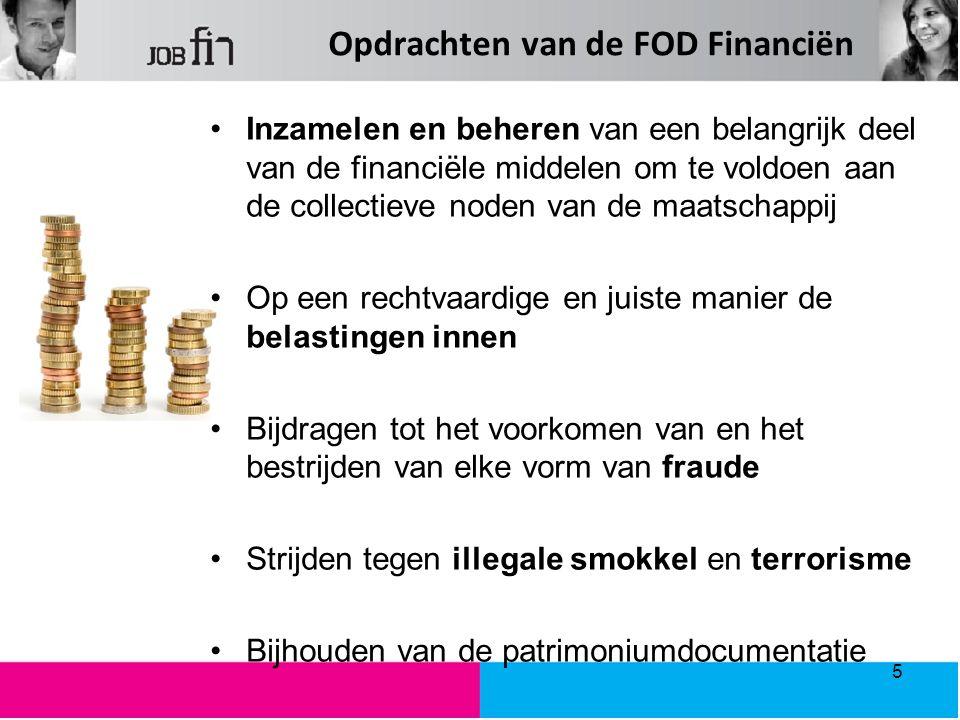 Opdrachten van de FOD Financiën Inzamelen en beheren van een belangrijk deel van de financiële middelen om te voldoen aan de collectieve noden van de maatschappij Op een rechtvaardige en juiste manier de belastingen innen Bijdragen tot het voorkomen van en het bestrijden van elke vorm van fraude Strijden tegen illegale smokkel en terrorisme Bijhouden van de patrimoniumdocumentatie 5