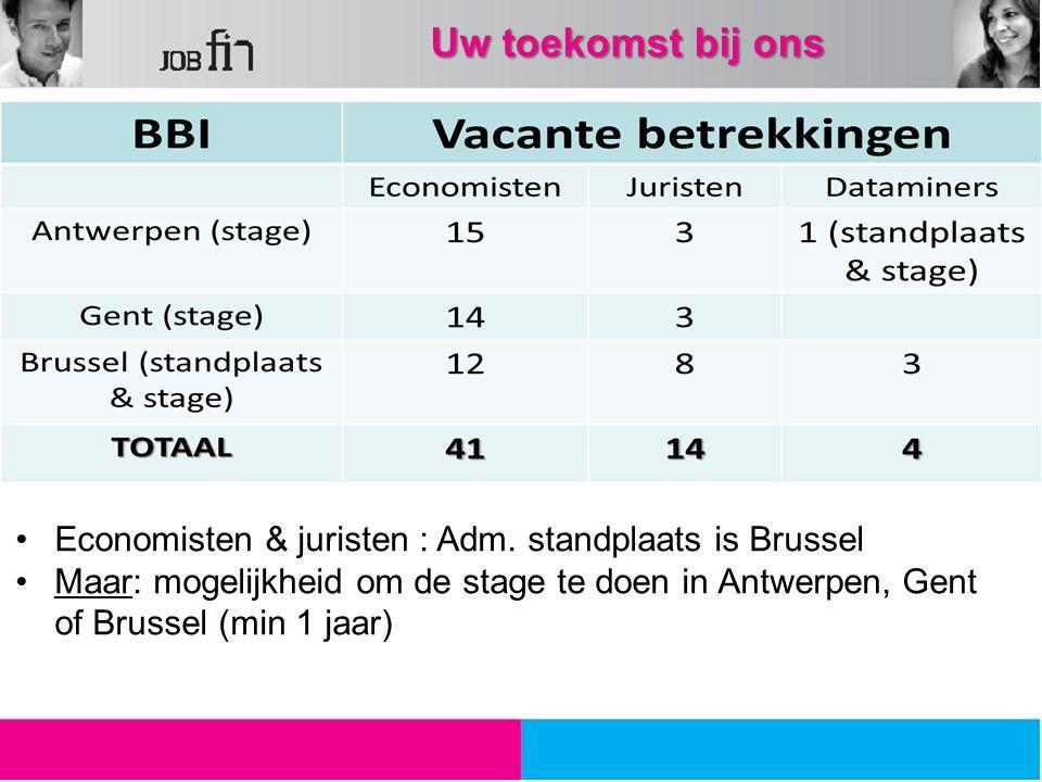 Uw toekomst bij ons Economisten & juristen : Adm. standplaats is Brussel Maar: mogelijkheid om de stage te doen in Antwerpen, Gent of Brussel (min 1 j