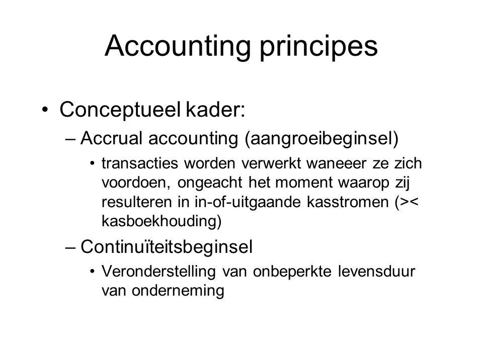 Conceptueel kader: –Accrual accounting (aangroeibeginsel) transacties worden verwerkt waneeer ze zich voordoen, ongeacht het moment waarop zij resulte