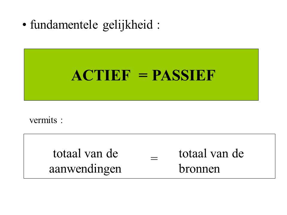 fundamentele gelijkheid : ACTIEF = PASSIEF vermits : totaal van de aanwendingen totaal van de bronnen =