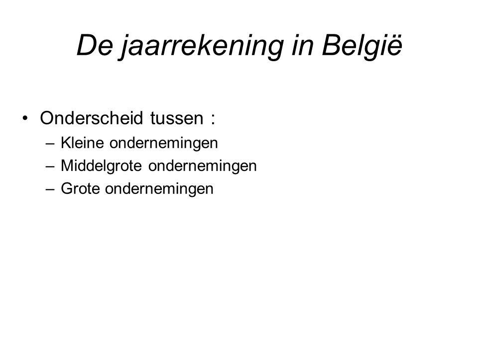 Onderscheid tussen : –Kleine ondernemingen –Middelgrote ondernemingen –Grote ondernemingen De jaarrekening in België