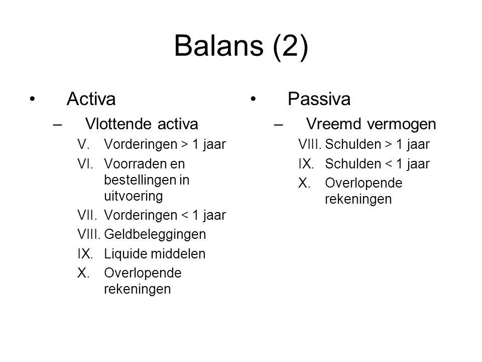 Balans (2) Activa –Vlottende activa V.Vorderingen > 1 jaar VI.Voorraden en bestellingen in uitvoering VII.Vorderingen < 1 jaar VIII.Geldbeleggingen IX